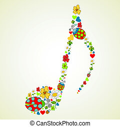 Colorful music texture background - Colorful spring icons...