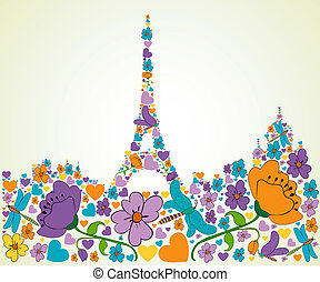 Springtime Paris - Spring flower and butterfly icons texture...