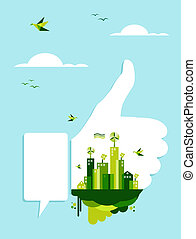 Go green thumb up hand - Environment conservation concept...