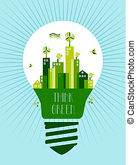 Go green city idea - Think green concept illustration: green...