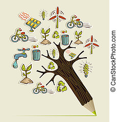 Green concept pencil tree - Environmental conservation icons...