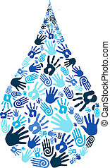 Save water diversity hand shape - Eco concept of saving...