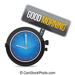 clock with the text good morning illustration