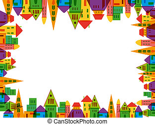 Cute city frame - Colorful cute city frame over white...