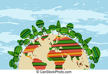Colorfu green world concept over sky blue grunge background...