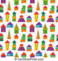 Cute house pattern - Trendy multicolored cute houses...