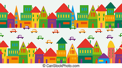 Cute multicolored city pattern - Trendy town seamless...