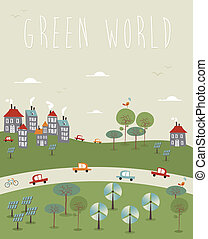 Go green World design - Go green world infographics trendy...