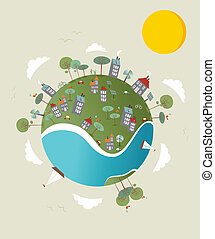 Go green world design - Cute go green environment world...
