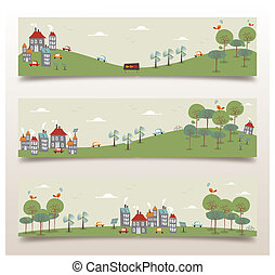 Go green banner set - Ecology city and forest idea banner...