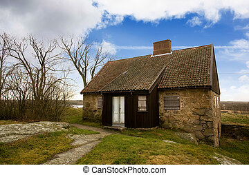 Old Stone House - An old stone house on a big landscape