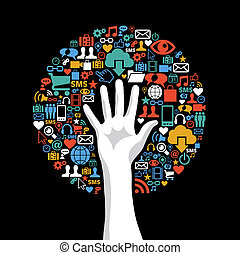 Social media networks hand concept tree - Global technology...