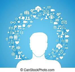 Active social media man - Cloud computing network man icon...