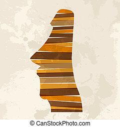 Vintage multicolor moai statue - Diversity colors...