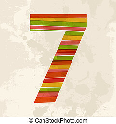 Vintage multicolor number seven - Diversity colors...