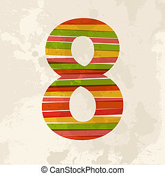Vintage multicolor number eight - Diversity colors...