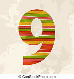 Vintage multicolor number nine - Diversity colors...