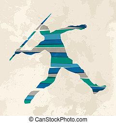 Vintage multicolor javelin thrower