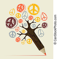 Peace icon tree pencil concept