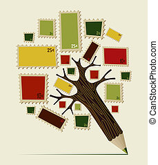 Stamp icon pencil tree concept - Colorful stamps icons set...