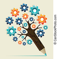 Gear wheel concept pencil tree - Cog wheel colorful concept...