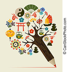 China tradition concept pencil tree - Orient symbols chinese...