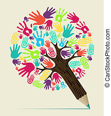 Diversity hand concept pencil tree - Diversity people hand...