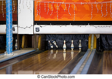 Retro Bowling Alley - A retro bowling alley detail with 2...