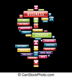 Business strategy money sign composition with glossy web...