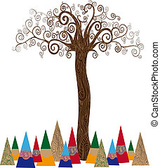 Isolated art tree concept - Art noveau style tree idea...