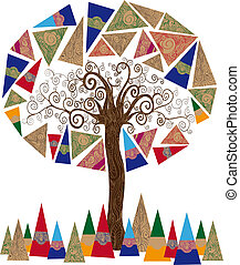 Abstract tree concept - Art noveau style tree idea isolated...
