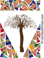 Art noveau tree idea - Art deco style tree idea isolated...