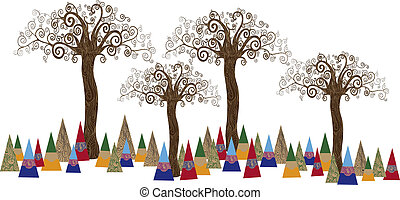 Tree forest art concept - Art noveau style tree idea...