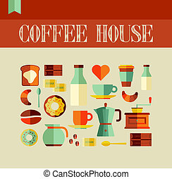 Coffee House concept - Colorful coffee house concept...