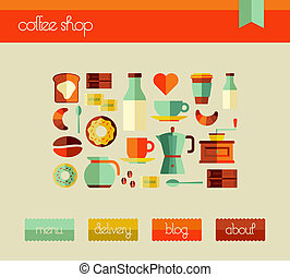 Coffee Shop web design template - Cafe graphic user...