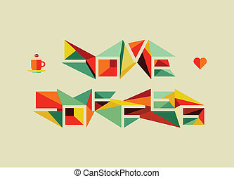 Origami coffee love concept - Trendy colorful cafe love...