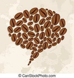 Coffee beans bubble chat concept - Bubble chat shape made...