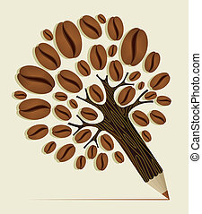 Coffee beans concept tree - Coffee Beans pencil tree wood...