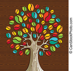 Coffee beans tree - Colorful coffee beans tree over wood...