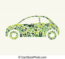 Green car with icons - Green vintage light car design eco...