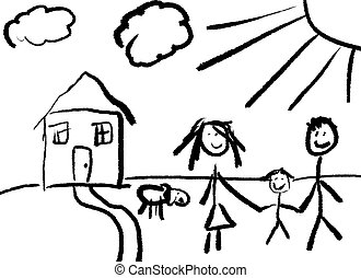 Happy Family - A childlike drawing of a happy family in...