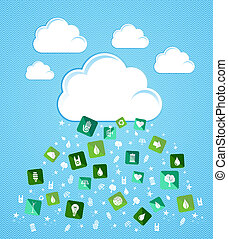 Cloud computing eco friendly icons - Green enviromental flat...