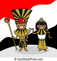 Welcome to Egypt people - Egyptian man and woman cartoon...