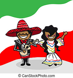 Welcome to Mexico people - Mexican man and woman cartoon...