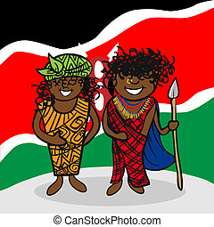 Welcome to Kenya people - Kenyan man and woman cartoon...