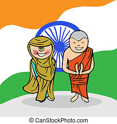 Welcome to India people - Indian man and woman cartoon...