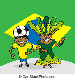 Welcome to Brazil people - Brazilian man and woman cartoon...