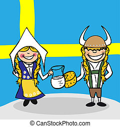 Welcome to Sweden people - Swedish man and woman cartoon...
