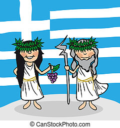 Welcome to Greece people - Greek man and woman cartoon...