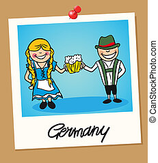 Germany travel polaroid people - German man and woman...
